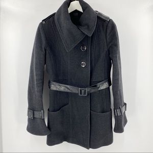 Mackage wool pea coat with leather & bell sleeves